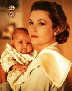 Princess Grace and baby Caroline, 1957