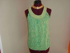 Joseph A. Sz S Women's Chartreuse Green Stretch Knit Tank Top Round Neck #JosephA #KnitTop