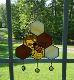 Stained Glass Bee on Dripping Honeycomb by GlassStudio820 on Etsy