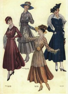 The yellow/brown one is sort of what I'm thinking for a one-off costume. Have a skirt that could work; how to do the top?  1916 fashion plate. At least two of these would be perfectly suitable today too. :0)