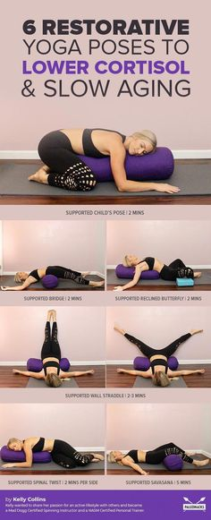 Melt Into This Restorative Yoga Routine To Lower Cortisol & Slow Aging Tough day? Try this calming, restorative yoga routine to naturally lower your cortisol levels and fight the aging effects of stress. Yoga Régénérateur, Yoga Yin, Yoga Moves, Yoga Flow, Yoga Exercises, Yoga Meditation, Weight Exercises, Yoga Headstand, Yin Yoga Poses