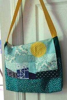 Ready,Set,Go! ~ Sun + Sea Patchwork Messenger Bag | Tutorial