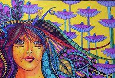 Flower Girl color print Mary Vogel Lozinak Illustration ink drawing zentanagle zentangle