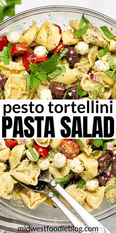 This Pesto Tortellini Pasta Salad is loaded with cheese tortellini, tons of veggies, and plenty of fresh mozzarella – all tossed in a super simple pesto vinaigrette. Whether you need a quick salad for your next backyard barbecue, an easy meal prep recipe, or just something different for lunch today, this tortellini salad will quickly become a family favorite! Pasta With Olives, Pasta Salad With Tortellini, Pesto Pasta Salad, Cheese Tortellini, Pasta Recipes, Salad Recipes, Cooking Recipes, Picnic Recipes, Diet Recipes