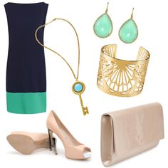 Navy and aqua with neutrals, created by ceiababes.polyvore.com