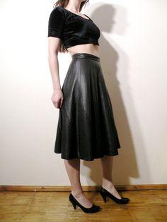Vintage Black Soft Genuine Leather Skirt Medium by JustGiza, $55.00