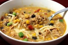 Crockpot chicken enchilada soup. 3 tbsp. butter 3 tbsp. flour 1/2 cup chicken broth 2 cups milk (I used 2%) 1 can (10 oz) of enchilada sauce 1 can (15 oz) black beans, rinsed and drained 1 can (14.5 oz) Rotel diced tomatoes and green chilies 1 package (10 oz) frozen corn 1 medium onion, diced 1 green pepper, diced 8 chicken tenderloins or 2 whole chicken breasts – Click image to find more popular food & drink Pinterest pins