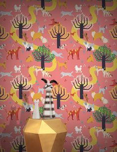 Dog Park Wallpaper by Kiki Ljung Dog Wallpaper, Wallpaper Online, Original Wallpaper, Application Pattern, Dog Park, Elle Decor, Designer Wallpaper, Girl Room, Wall Murals