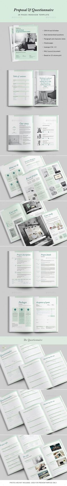 28 Pages Proposal and Questionnaire Template InDesign INDD. Download here: http://graphicriver.net/item/proposal-and-questionnaire-28-pages/15950636?ref=ksioks