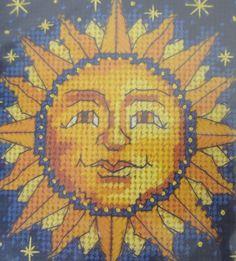 "Dimensions Needlepoint Kit - "" Sun & Stars "" - Designed by Martha Gayle Freeman… Embroidery Thread, Cross Stitch Embroidery, Sun Art, Charts And Graphs, Sun And Stars, Needlepoint Kits, Star Designs, Beading Patterns, Fiber Art"