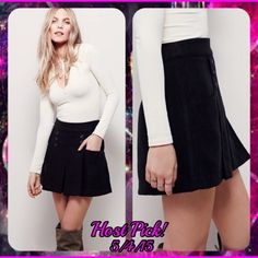 HP!NWT- Black FP mini skirt w. Button accents HP! NWT- Another fashion must from Free People. This extra soft mini skirt features pouch pockets and button accents. Has a hidden side zip to ensure an easy fit and lasting comfort. Free People Skirts