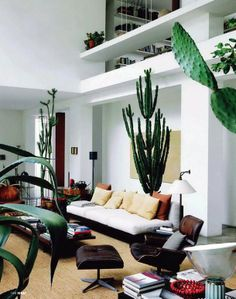 Living room with big cacti and other large succulents. Minimalist Bohemian Living Rooms on Sycamore Street Press House Design, Interior, Interior Inspiration, Home, Bohemian Living Rooms, Room Inspiration, House Interior, Interior Design, Home And Living