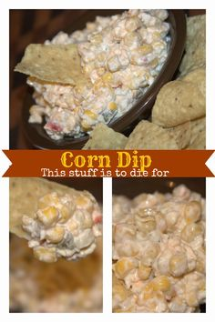 Recipes We Love: Corn Dip… aka crack dip… this stuff is to die for is creative inspiration for us. Get more photo about Food & Drink related with by looking at photos gallery at the bottom of this page. Yummy Appetizers, Appetizer Recipes, Snack Recipes, Cooking Recipes, Cold Dip Recipes, Bacon Recipes, Party Appetizers, Easy Dip Recipes, Mexican Appetizers Easy