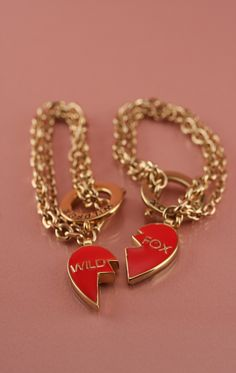 Best Friends Bracelets --> Wildfox 10K GOLD BRACELET SET W/ RED ENAMEL HEART CHARM Bff Bracelets, Best Friend Bracelets, 10k Gold Bracelet, Bracelet Set, Couture Accessories, Wildfox, Heart Charm, Charmed, My Style
