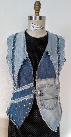 Denim Vests, Diy Clothes Refashion, Denim Ideas, Denim And Lace, Recycled Denim, Denim Outfit, Denim Fashion, Indigo, Denim Patchwork