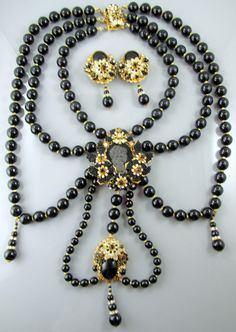 Exceptional and Rare Robert DeMario Black Glass Bead Work Necklace and Earrings