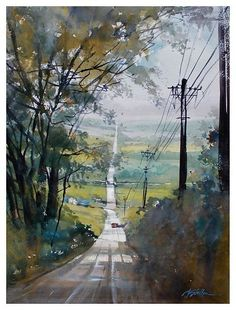 fairmount road - ohio by Thomas  W. Schaller Watercolor ~ 24 inches x 18 inches