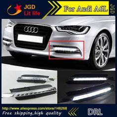 74.80$  Buy here - http://ali8du.worldwells.pw/go.php?t=32752170778 - Free shipping ! 12V 6000k LED DRL Daytime running light for Audi A6L 2012 2013 2014 fog lamp frame Fog light Car styling 74.80$