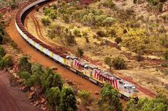 An iron ore train snakes its way through the Pilbara Wild Dogs, Agriculture, Places To Visit, Country Roads, Australia, Train, Landscape, World, Iron Ore