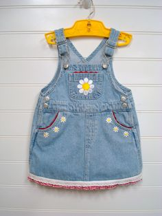 Baby Girl Denim Dress Custom Baby Clothes by OnceUponADaizy, $24.00 Girls Denim Dress, Denim Jumper Dress, Denim Outfit, Girls Dresses, Handmade Baby Clothes, Unique Outfits, Toddler Outfits, Baby Dress, Ready To Wear