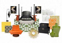Leafy Tangerine Bedroom Concept by dawnhearn | Olioboard