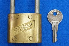 Vintage Rollfast Bicycle Bike Lock Brass Body Long Hasp w/Key Padlock Works!  To see the Price and Detailed Description you can find this item in our Category Vintage Industrial & Steampunk on eBay: http://stores.ebay.com/tincanalley1/Vintage-Industrial-Steampunk-/_i.html?_fsub=19516075018   RD14743  Go back to Tin Can Alley - FOR SALE: http://www.bagtheweb.com/b/PBdAfQ