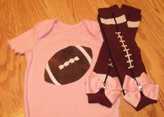 Baby, Infant, Toddler Girl Football Onesie and Matching Football Leg Warmers Set
