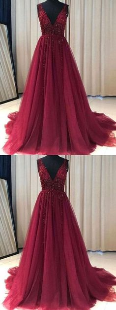 Burgundy Prom Dress, A Line Simple Party Dress, Modest V-neck Long Prom Dress 51738 #RosyProm #fashionpromdress #charmingpromgown #longpartydress #simpleeveningdress #burgundypromdress #promgown