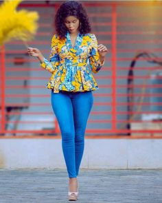 african print top with jeans, Latest African fashion, Ankara, kitenge, African women dresses, African prints, African men's fashion, Nigerian style, Ghanaian fashion, kente, kaba and slit #fashion #style #ankara #africanfashion #africa