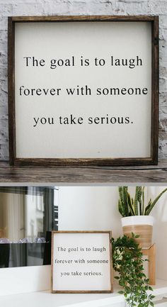 Absolutely!! The Goal Is To Laugh Forever With Someone You Take Serious Wood Sign - Romantic Wood Sign, Home Decor, Farmhouse Sign, Farmhouse Decor, Rustic Decor, Bedroom Decor, Gallery Wall, Wedding Gift, Wedding Decor, Anniversary Gift, Gift Under 50, Rustic Signs #afflink
