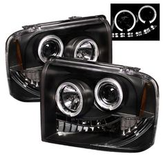 Ford F250/350/450 Super Duty Projector Headlights LED HaloLED Black Housing With Clear Lens   Free Gift Universal DRL 8 White LED Lights ** Click on the image for additional details.