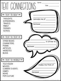 Use different sentence frames to increase text connections. Help students connect the text to themselves, other texts, and the world using a graphic organizer and sentence frames. Increase reading comprehension with text connections. Reading Intervention, Reading Skills, Teaching Reading, Reading Response Activities, Reading Comprehension Strategies, Close Reading Strategies, Reading Process, Literacy Strategies, Teaching Literature