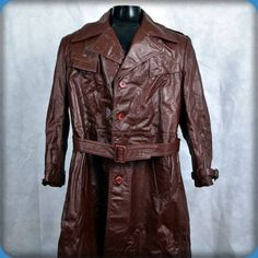 ARGENTINA Vtg Belted Trench Coat LEATHER Long Spy Jacket Mens 42 Size L Brown