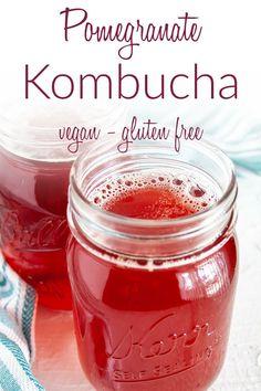 Pomegranate Kombucha - This homemade kombucha is a sweet fizzy treat. It's easy to make, and much cheaper than store-bought. #kombucha #flavoredkombucha