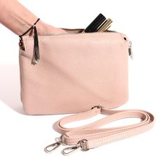 Italian Leather Cross Body Bag with 3 Compartments. Italian Leather, Evening Bags, Leather Crossbody Bag, Cross Body, Shoulder Strap, Purses, My Style, Pink, Handbags