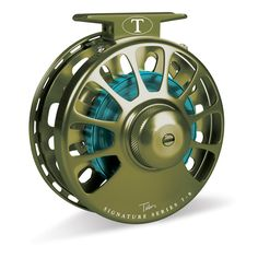 Tibor Signature Series Fly Reel Moss Green with Aqua Hub