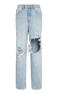 With a super high-rise and a straight-leg, Ksubi's 'Playback' jeans give a nod to the popular styles of the Crafted with a rigid fit, they won't stretch as you move and bend throughout the day. Team the light wash style with neutrals or crisp white knits. Kpop Outfits, Cute Outfits, Fashion Outfits, Casual Outfits, High Waisted Baggy Jeans, Ripped Jeans, Denim Jeans, Skinny Jeans, Shirt Skirt