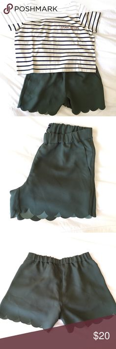 Madewell Scalloped Olive Green Shorts NWT Never been worn. These beauties will make your summer outfit all the more special with these petite scallops. *True color as seen in the last photo* Madewell Shorts