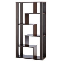 Display your favorite reads or travel mementos in eye-catching style with this distinctive bookcase, featuring an architectural design and a black finish.