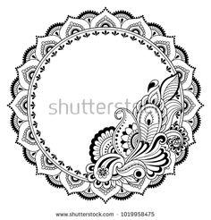 Henna tattoo flower template and patterned frame. Set of ornamenta… Henna tattoo flower template and patterned frame. Set of ornamental patterns in the oriental style. Mandala Hip Tattoo, Tatoo Henna, Mandala Drawing, Mandala Painting, Henna Art, Peacock Mehndi Designs, Henna Designs, Madhubani Art, Madhubani Painting