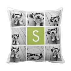 Photo Collage Custom Monogram - Lime Green Pillow