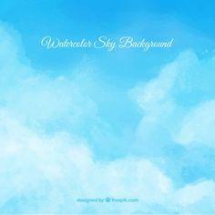 Fondo de cielo de acuarela con nubes