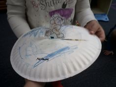 Ice skating craft! Cut slit in paper plate, glue pic of ice skater onto popsicle stick, color plate blue and paint w glitter glue.  Did this the other day with the two year olds :)