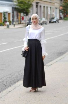 simple white blouse with maxi skirt