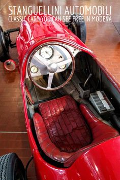 You can pay 17 euro to see the Ferrari museum in Maranello, but the Stranguellini is easy to visit and it's free when you make an appointment. If you like to see fast cars with small motors made by hand, this is the place you'll want to visit. Modena Italy, Free Museums, Moto Guzzi, Fast Cars, Exotic Cars, Fiat, Italy Travel, Ferrari, Classic Cars