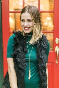 Christmas party look | Holiday Style | What to wear for the holidays | Fur Vest • Uptown With Elly Brown