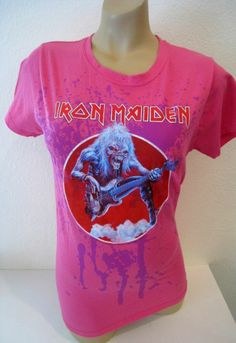 Iron Maiden Tee Hot Topic Pink Fitted Girly Women's L NEW Paint Band Rock