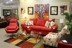 Klaussner Red Sofa & Accent Chair - Colleen's Classic Consignment, Las Vegas, NV - www.cccfurnishings.com