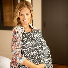 Gift Guide: NEW MOM - Classic black petals on white are ultra chic on this nursing cover, shown in Tribeca