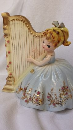 HAVE March Sale Josef Originals Girl with Harp by ChampagneAndGlitter, $18.00
